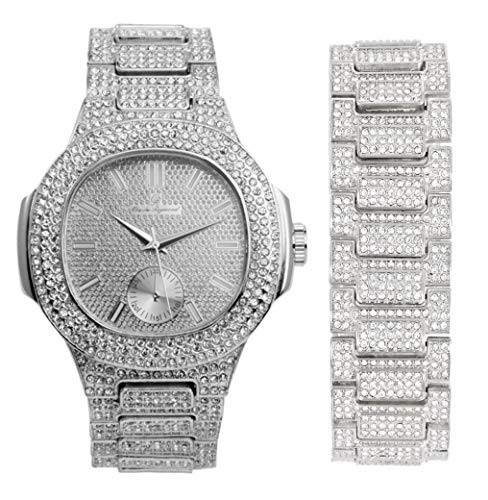 Blinged Oblong Case Metal Mens Watch w/Matching Bracelet Set - 8475B Silver (Silver)