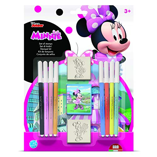 Multiprint Blister 2 Sellos para Niños Disney Minnie, 100% Made in Italy, Sellos Personalizados para Niños, en Madera y Caucho Natural, Tinta Lavable no Tóxica, Idea de Regalo, Art.26866