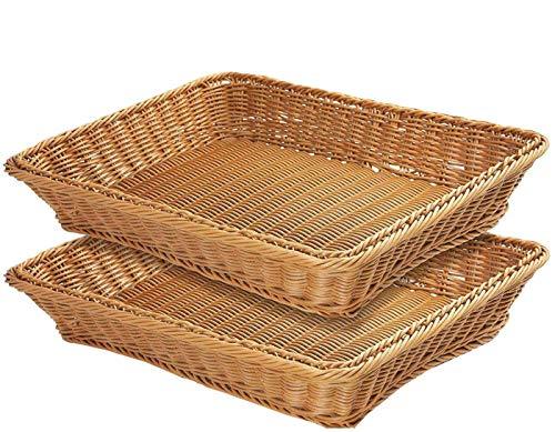 16' Poly-Wicker Bread Basket, Woven Tabletop Food Fruit Vegetables Serving, Restaurant Serving Basket,Brown(2 PACKS)