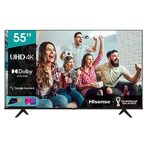 Hisense 55' UHD 4K 2021 55A68G, Smart TV VIDAA 5.0, HDR Dolby Vision, IPS, Controlli vocali Alexa / Google Assistant, Tuner DVB-T2/S2 HEVC 10, lativù 4K