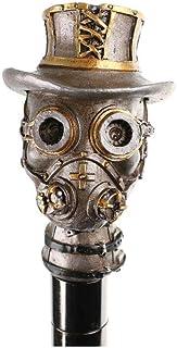shoperama Wandelstok met steampunk doodshoofd handvat cilinder Googles metalen wandelstok gothic kostuumaccessoires