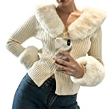 TheFound Women's Fluffy Turtleneck Long Sleeve V-Neck Cropped Knit Cardigan Sweater Casual Pullover Faux Fur Trim Collar Cuffs Tops (A # Apricot, One Size)
