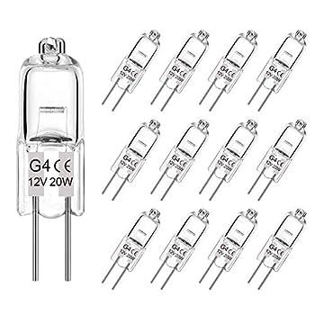 G4 Halogen Bulb 20W 12 Pack Dimmable G4 Light Bulb for Under Cabinet Puck Light Chandeliers Track Lighting AC/DC 12 Volt T3 JC Type Bi-Pin G4 Base Warm White 2700K-3000K