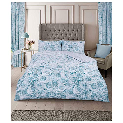 FAIRWAYUK Rose Bedding Set, Duck Egg Duvet Cover King Bed Size with Pillowcase, Ultra Soft Reversible Quilt Covers Easy Care, Button Closure, 230x220cm