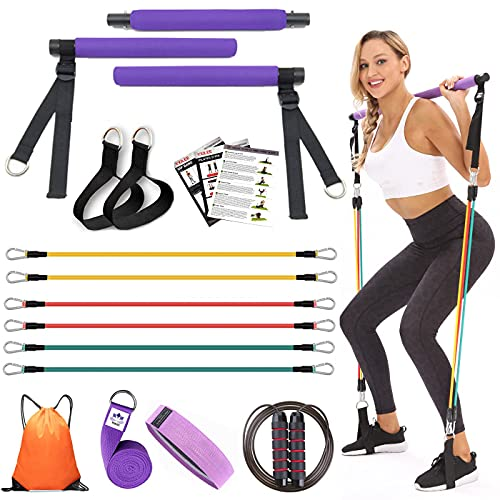 YXILEE Pilates bar kit with Resistance Bands for Women 6 Elastic Bands for Exercise 90 ibs | Workout Equipment for Home Workouts | Home Gym Equipment | Jump Rope | Yoga Strap | Gym Bag