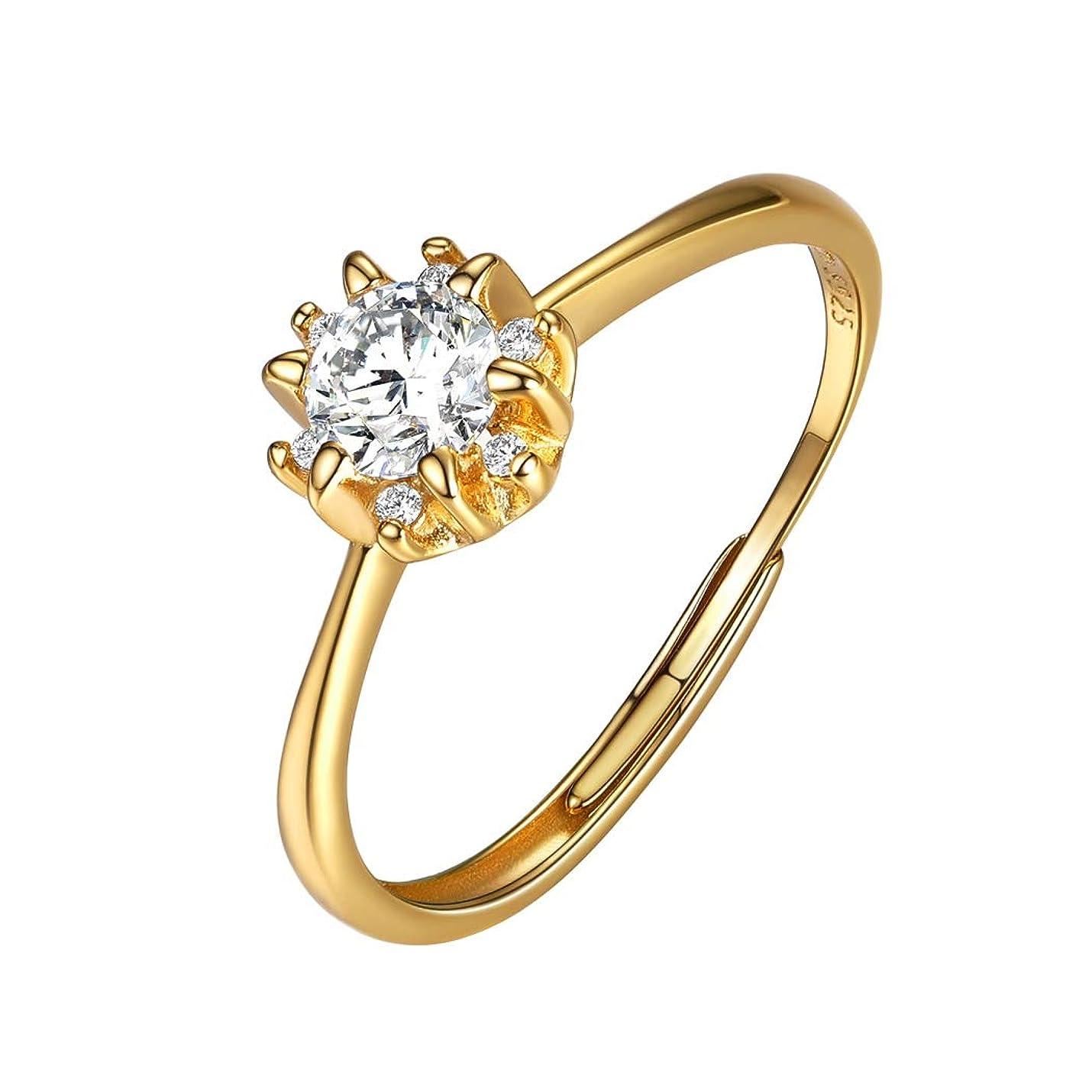 唯物論不快なメナジェリーSuplight 一粒 ジルコニア 結婚指輪 レディース フリーサイズ リング ゴールド 18k アレルギー対応 シンプル プロポーズ アクセサリー