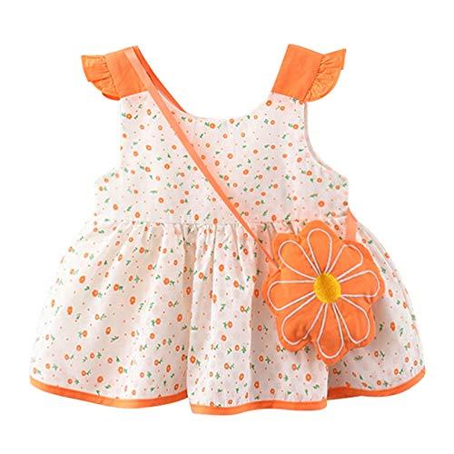 YWLINK Vestido De Princesa con Estampado De Lunares Y Mangas Voladoras para NiñOs Estido Bebé con Estampado Floral De AlgodóN, Tutú, Vestido De Princesa, Vestido De Fiesta