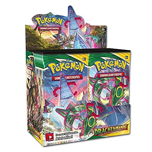 Pokemon Schwert & Schild: Drachenwandel Display (36 Booster) | DEUTSCH | PKM Karten NEU GÜNSTIG | + Arkero-G 100 Standard Soft Sleeves Kartenhüllen