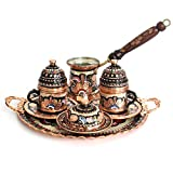 Handcraft Ideas 12-Piece Turkish Coffee, Espresso and Tea Set - Handmade Serving Set for 2 Includes Cups, Saucers, Sugar Bowl, Pot and Tray - Floral Design, Unique Gift - Premium Copper Construction