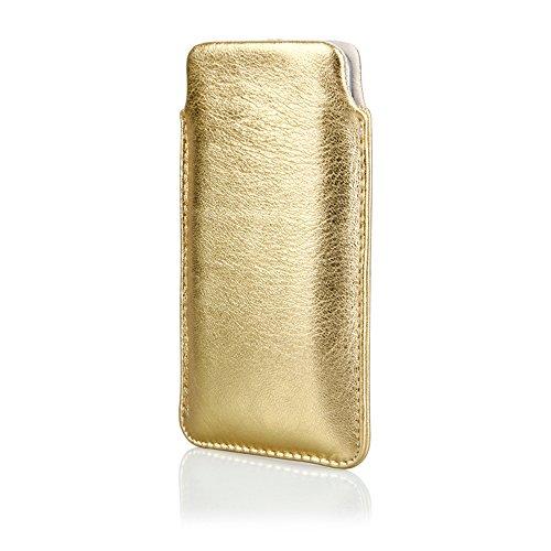 andyhandyshop Echt Ledertasche für Samsung Galaxy A11 A71 5G Leder Tasche Case Etui Wallet mit Rausziehband Gold