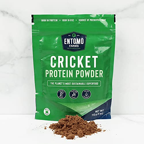 Entomo Farms Cricket Powder │113g Bag (4 oz) │ Pure Canadian Cricket Flour   Complete Protein   Whole Food, 100% Ground Crickets, No Fillers, Gluten-Free, Paleo & Keto Diet