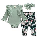 Geagodelia Ensemble de Vêtement pour Bébé Fille à Manches Longues + Pantalon Floral + Bandeau Nouveau-né Vêtement Chaud (Vert, 12-18 Mois)