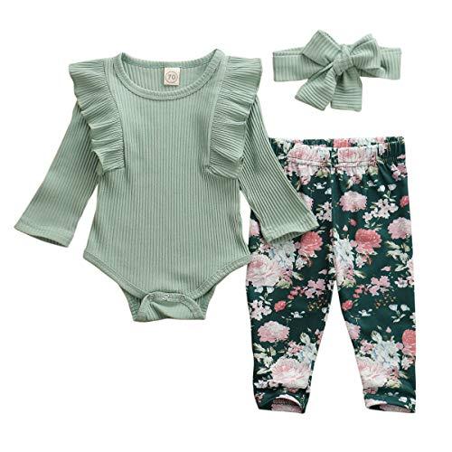 Geagodelia T-38207 - Conjunto de ropa de bebé para niña, manga larga, body, pijama + pantalones de flores + cinta para la frente, para recién nacidos, ropa para bebé verde 6-12 Meses