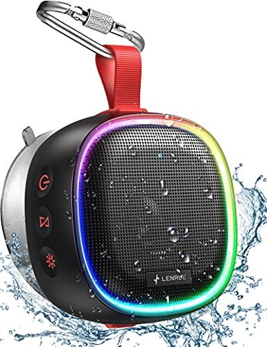 Bluetooth Lautsprecher mit RGB Licht, LENRUE IPX7 Wasserdicht Kabelloser Lautsprecher Musikbox mit DSP Stereo, TWS Technik, 20H Akku, Saugnapf, Tragbare Bluetooth Speaker Box für Handy Dusche Outdoor