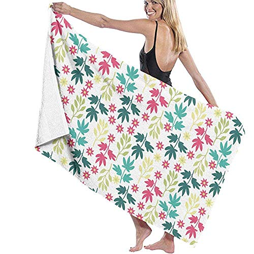 Bikofhd Bath Towels,Floral Travel Towels Spa Beach Towel Wrap Girls,80x130cm