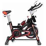 Sport24 Stationary Upright Exercise Spinning Bike for Home with 8kg Flywheel, LCD Screen, Multi-Resistance Levels, Bicycle Cardio Trainer Indoor Fitness, Pulse Edition, Black Red