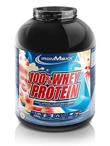 IronMaxx 100% Whey Protein, Proteinpulver für Eiweißshake, Eiweißpulver auf Wasserbasis mit Strawberry Vanilla Geschmack, 2,35 kg
