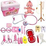 JZK Pink Kit Medico per Bambini, Kit da Gioco fingere di Infermiere per Bambini, Set di Giocattoli con Scatola di medicinali, Regalo di Compleanno per Bambini Piccoli
