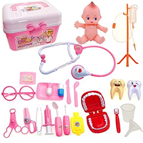 JZK Kit médico Rosa para niños, Juego de Juego de simulación de Doctores y Enfermeras para niños, Juego de Caja de medicamentos, Regalo de cumpleaños para niños pequeños, niñas y niños pequeño