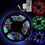 Kit de Ruban à LED 5m / 60W, Covermason 300 LEDs multicolores 3528 RVB SMD Non Etanche Adapteur + Alimentation + télécommande à infrarouge 44 touches