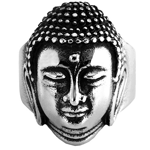 PAMTIER Men's Stainless Steel Silver Black Vintage Chinese Style Buddha Sakyamuni Head Engraved Ring Size 12