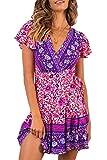 Zilcremo Damen Sommerkleid Boho Kleider Blumenkleid Kurzarm V-Ausschnitt Wickelkleider Minikleider mit Gürtel 7 XL