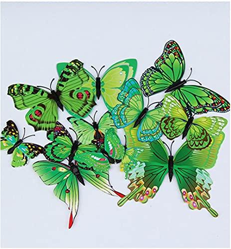 YQTYGB 12 PCS 3D Butterfly Murals Decor Pegatinas de Pared Mariposas Calcomanía Etiquetas de La Pared Papel Pintado de habitación de niños Fondo de Pantalla de Dormitorio.Mariposa Verde