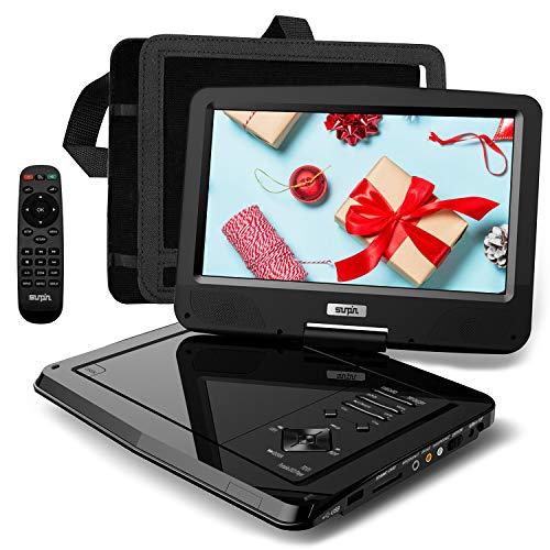 SUNPIN Tragbarer DVD-Player Auto mit 10,5 Zoll HD Schwenkbaren Display, Stereo-LautsprecherundDual-Kopfhörer-Buchse, Unterstützung Sync TV/USB/SD-Karte, Auto Kopfstütze Halterung, Schwarz