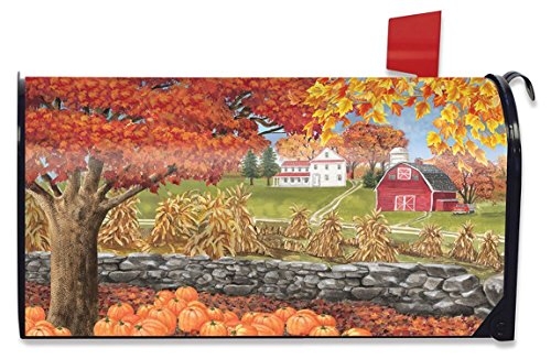 Briarwood Lane Autumn Day Scene Large Mailbox Cover Fall Leaves Oversized