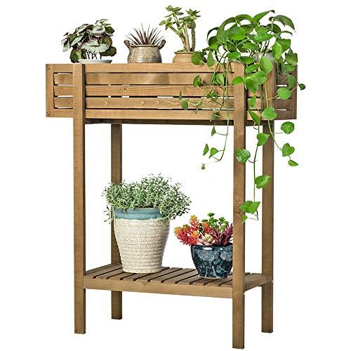 WOF Bamboe Plant Stand Outdoor - Trog Planter Planter Planten Bloempot Organizer Rack 2 Opslag Planten Plank,Voor Uw Patio, Voorportiek, Balkon Of In Uw Huis Decoratie En Planten