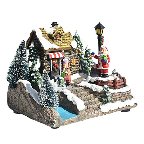 Aiboria Resin Christmas House Villages Collectable Décor, Musical Building House Figurine with Warm White LED Light and Rotating Santa Claus, USB/Battery Operate Christmas Ornamnet (Santa Claus)