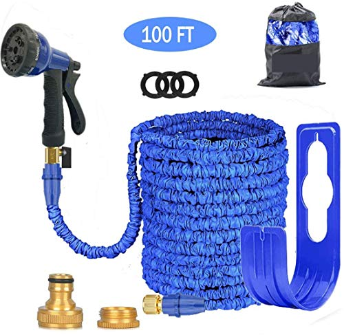 Alittle Expandable Garden Hose Pipe 3 Times Expanding 100FT Lightweight with 8 Function Spray Gun Flexible Magic Water Hose Brass Fittings Anti-Leakage for Garden Home Outdoor Easy Storage