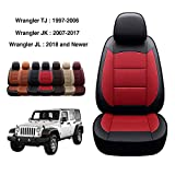 OASIS AUTO Wrangler JL 2018 2019 2020 2021 2022 Unlimited, Sahara, Sport, X, Custom Exact Fit PU Leather Seat Covers Accessories Full Set (4DR, Black/RED)