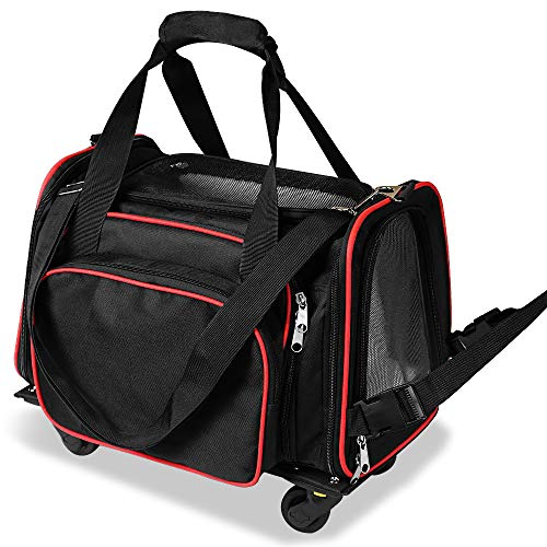 Floppy Dawg 3 in 1 Portable Travel Pet Carrier for Dogs and Cats Up to 12 Pounds. Removable Wheels, Expandable Soft Sided Tote Bag, Mesh Ventilation Windows and Airline Approved.