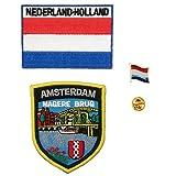 A-ONE Paquete de 3 piezas - Parche rectangular de la bandera de Holanda de Ámsterdam Magere de los Países Bajos + parche de bandera de Países Bajos, parche de escudo de Ámsterdam, pin de bandera