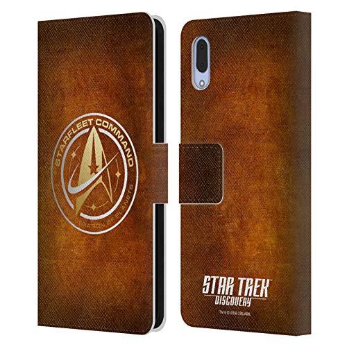 Head Case Designs sous Licence Officielle Star Trek Discovery Starfleet en Look Affligé Insignes Coque en Cuir à Portefeuille Compatible avec Sony Xperia L3
