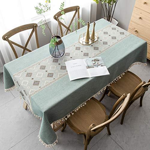 Pahajim Mantel Antimanchas Algodon Lino Elegante Impresos Manteles Resistente Borlas Table Cloth Rectangular Decorativo para Reuniones Familiares de Cocina (Verde,140x180cm)