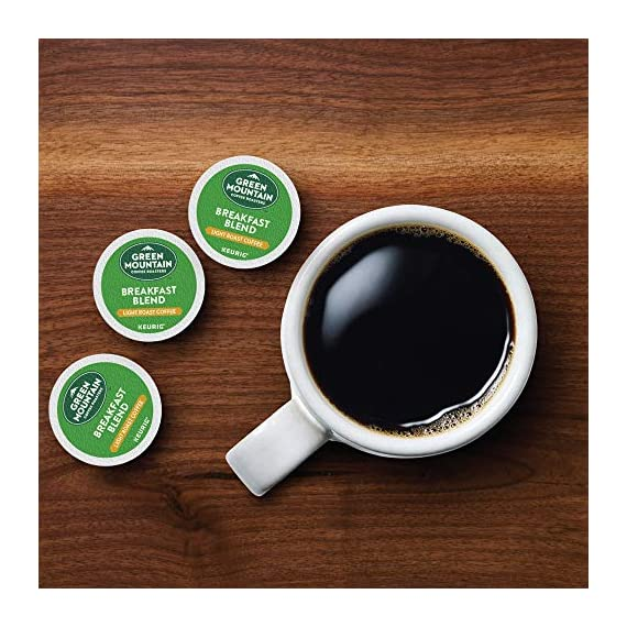 Green Mountain Coffee Roasters Breakfast Blend, Single-Serve Keurig K-Cup Pods, Light Roast Coffee, 72 Count 9 Taste: an eye-opening Decaf as delightful as the dawn itself. Clean and bright, with balanced sweetness, nutty flavor, and a silky mouthfeel. Roast: light roast, 100% Arabica decaffeinated coffee and is certified Orthodox Union Kosher (U) Sustainability: committed to 100% responsibly sourced coffee by end of 2020