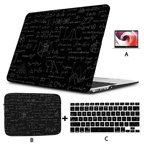 """Macbook A1466 Estuche Pizarra Gráficos y fórmulas matemáticas Estuche rígido para Macbook Air Carcasa rígida Mac Air 11""""/ 13"""" Pro 13""""/ 15"""" / 16""""con Funda para portátil para Macb"""