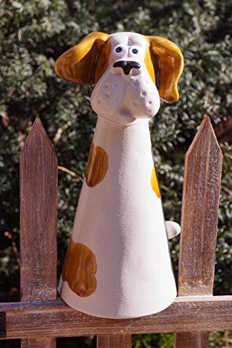 Rostalgie Keramik Zaunfigur zur Auswahl Hund/Katze/Schaf/Huhn Gartendekoration Zaunhocker Tiere - 1 STÜCK (Keramik, Hund)
