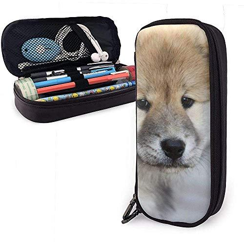 Estuche de lápices Marrón y negro Akita Puppy PU Bolsa de cuero Bolsas de almacenamiento Bolsa de lápices portátil Carteras con cremallera
