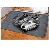 #Fußmatte #Wolf #Paar #Wolfskopf #Vorleger #Teppich 40x59 cm