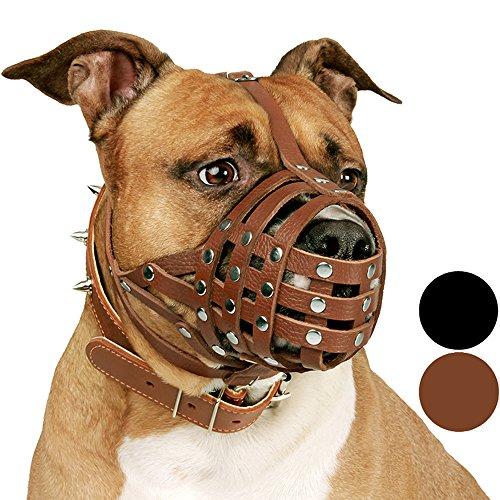 CollarDirect Pitbull Dog Muzzle Leather Amstaff...