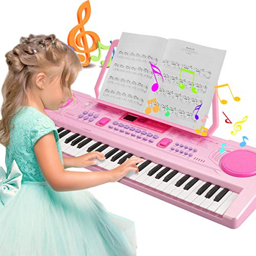 Teclado Electrónico Piano, Magicfun Teclado Piano Portátil 61 teclas, Recargable USB Digital Electrónico Keyboard con Atril y Micrófono, Educativa Regalo para Niño Niña Principiantes (Rosa) (#3)