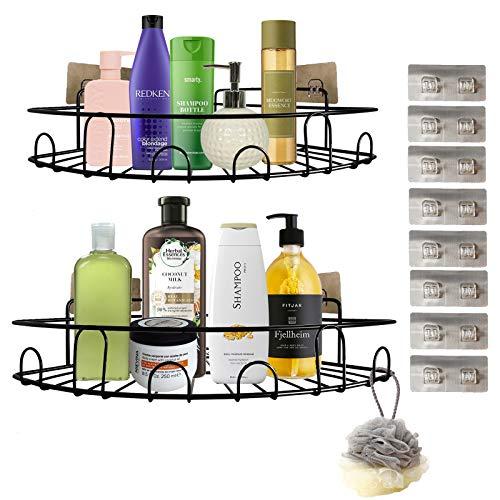 WLOWS Paquete de 2 estantes de Esquina para Carrito de, sin Perforaciones, montados en la Pared, Organizador de baño, estantes de Almacenamiento con 8 Ganchos Adhesivos, para Dormitorio y Cocina