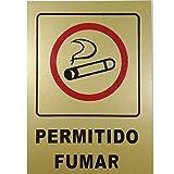 2 unidades CARTEL' PERMITIDO FUMAR' dorado 18 x 12 cm - AQUI SE PUEDE FUMAR - ZONA FUMADORES