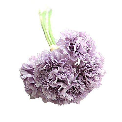 Globaldeal Direct 6 branches/Bouquet pour la fête cadeau artificielle œillets Fleurs Home Decor – Violet Clair