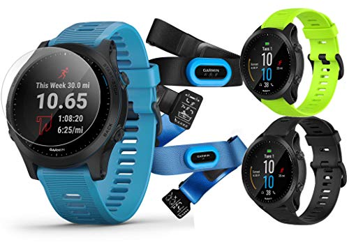 Garmin Forerunner 945 (Tri-Bundle) Extra Band Bundle | Includes Extra Silicone Watch Band (Amp Yellow), Black & Blue Silicone Bands, HRM-Tri & HRM-Swim Chest Straps & PlayBetter Screen Protectors (x4)