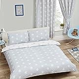 Funda de edredón y almohada con diseño de estrellas gris y blanco para cama...