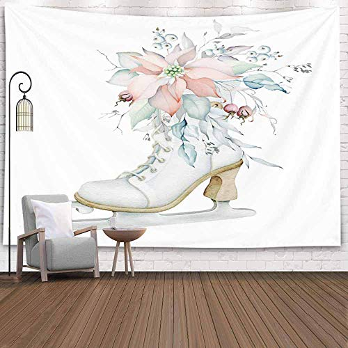 N\A Christmas Tapestry, Christmas Tapestries Watercolor Vintage Ice Skate Poinsettia Bouquet Christmas Wall Tapestry Large Christmas Tapestry